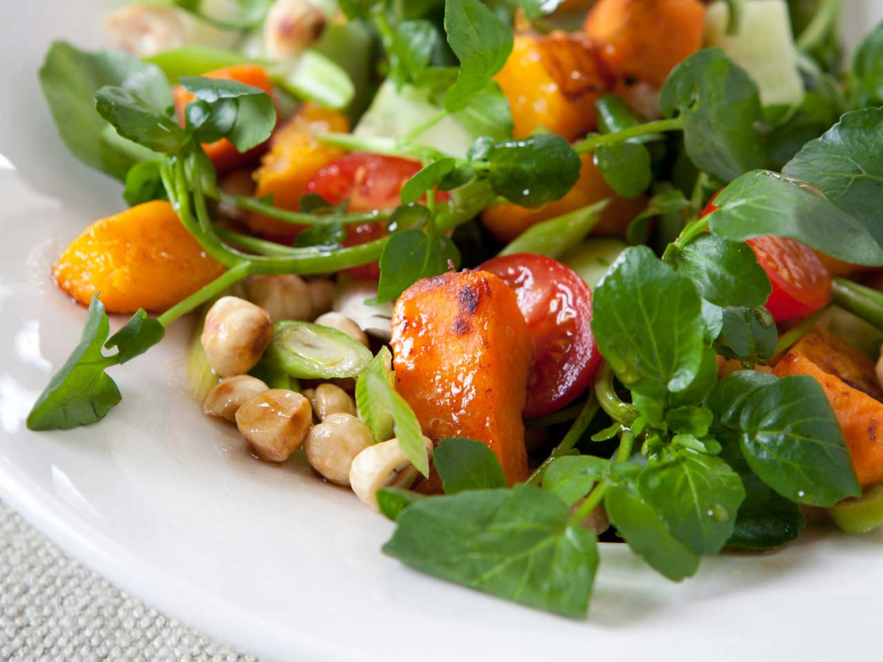 Chickpea, hazelnut, sweet potato and butternut squash salad