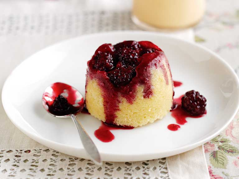 Blackberry and coconut steamed puddings