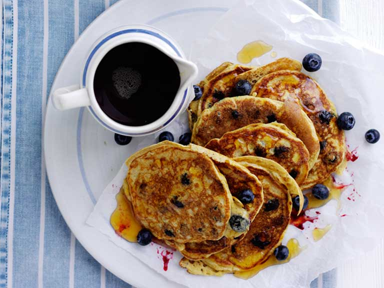 Blueberry and yoghurt gluten-free pancakes