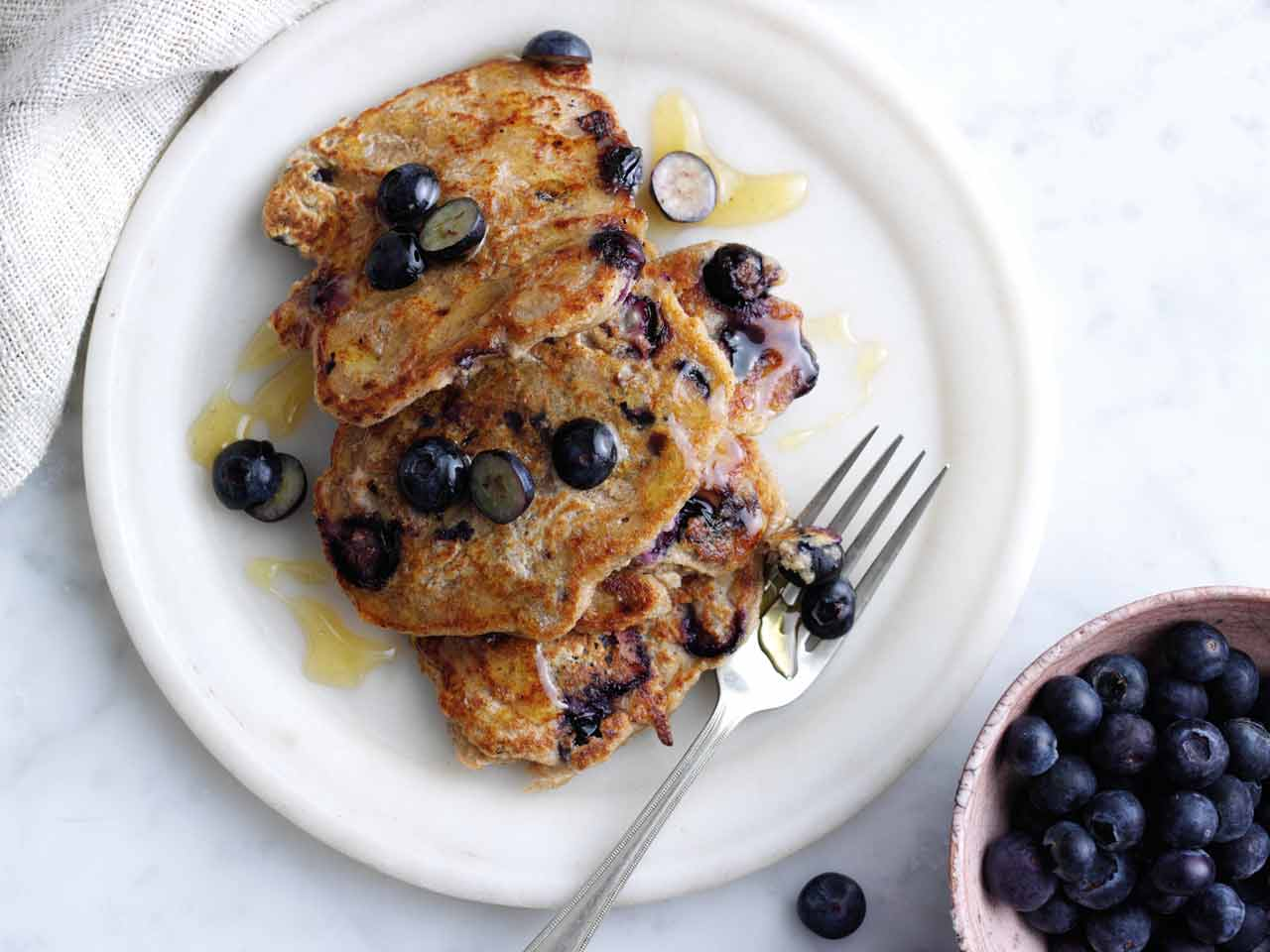 Vegan pancakes with oats and blueberries
