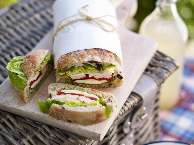 Easy picnic food ideas saga chicken and mozzarella stuffed sandwich forumfinder Choice Image