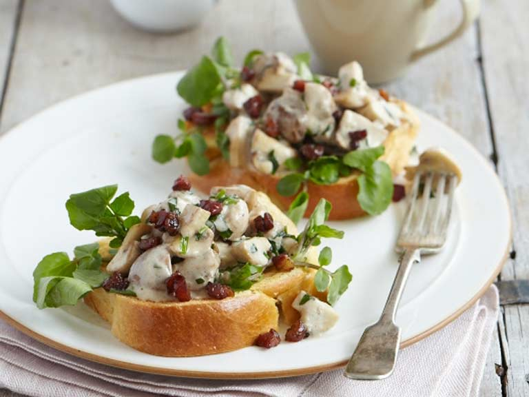 Creamy tarragon and pancetta mushrooms on toast