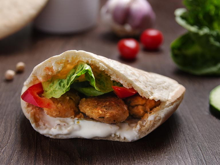 Falafels in pitta bread