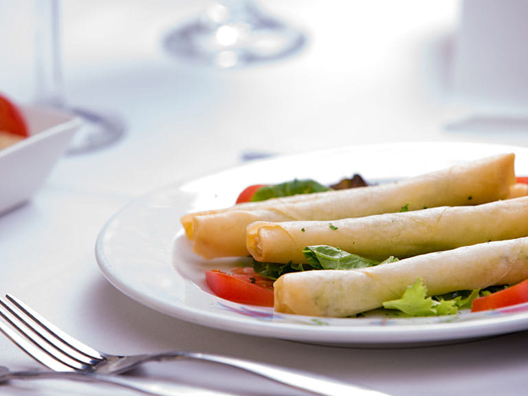 Filo pastry cigars filled with feta cheese