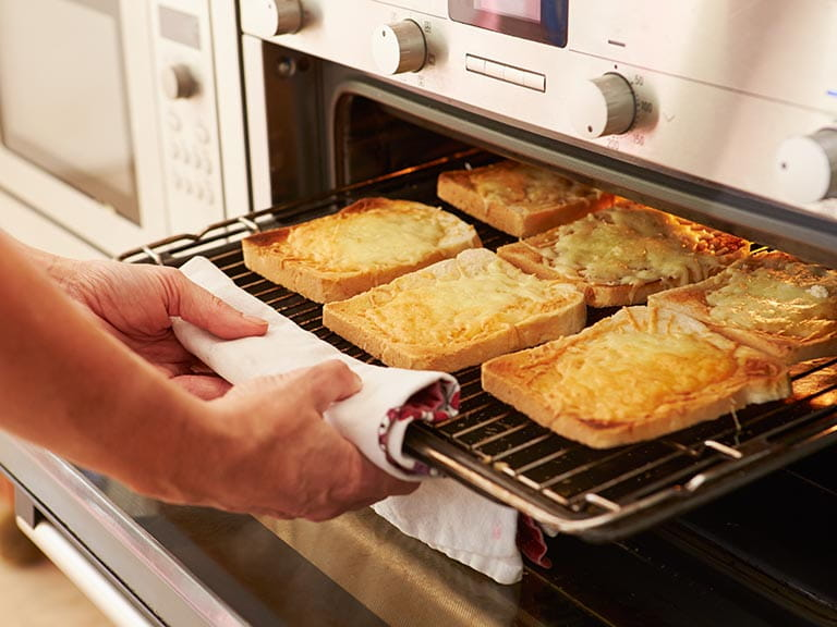 Cheese on toast under the grill