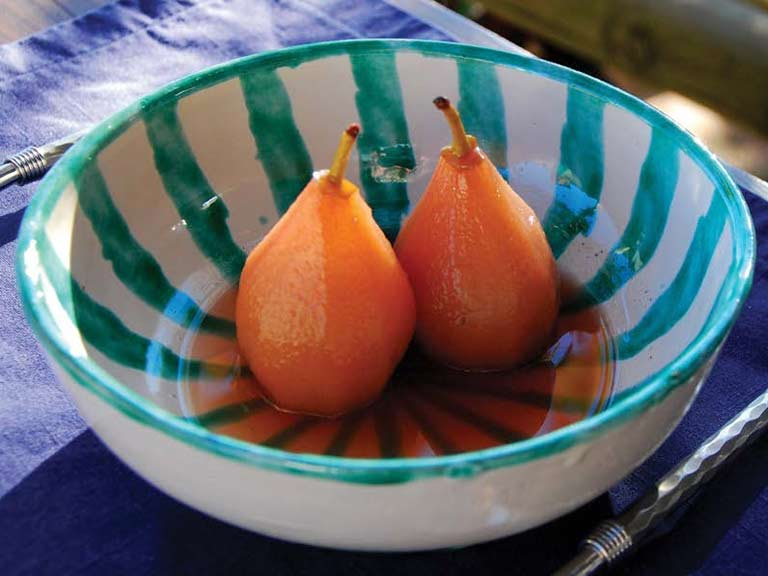 Poached quince scented with lavender