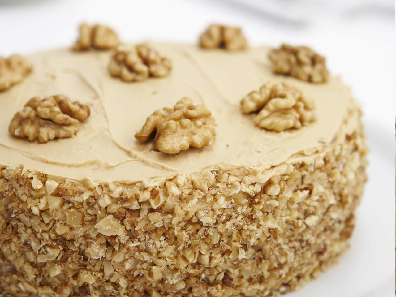 Classic coffee and walnut cake