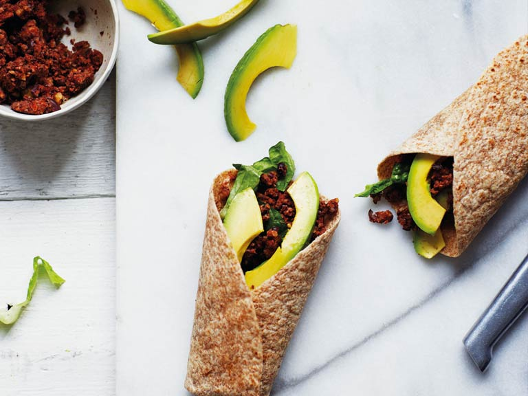 Black bean and walnut wrap