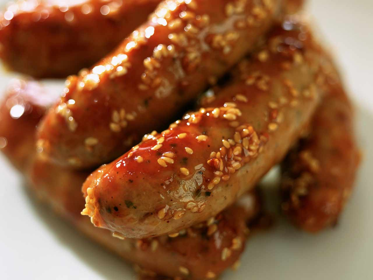 Maple and sesame sausages