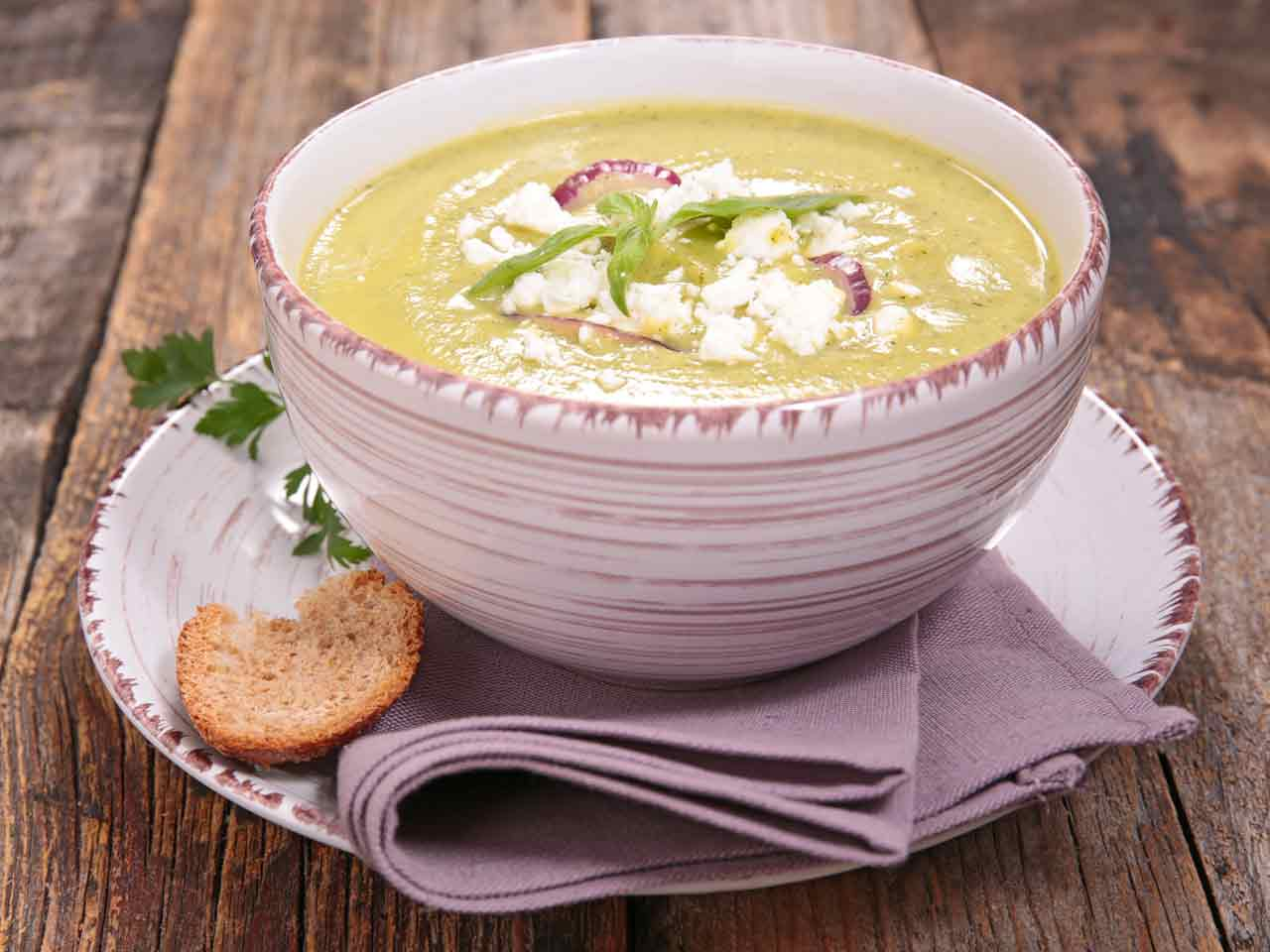 Courgette, feta and mint soup
