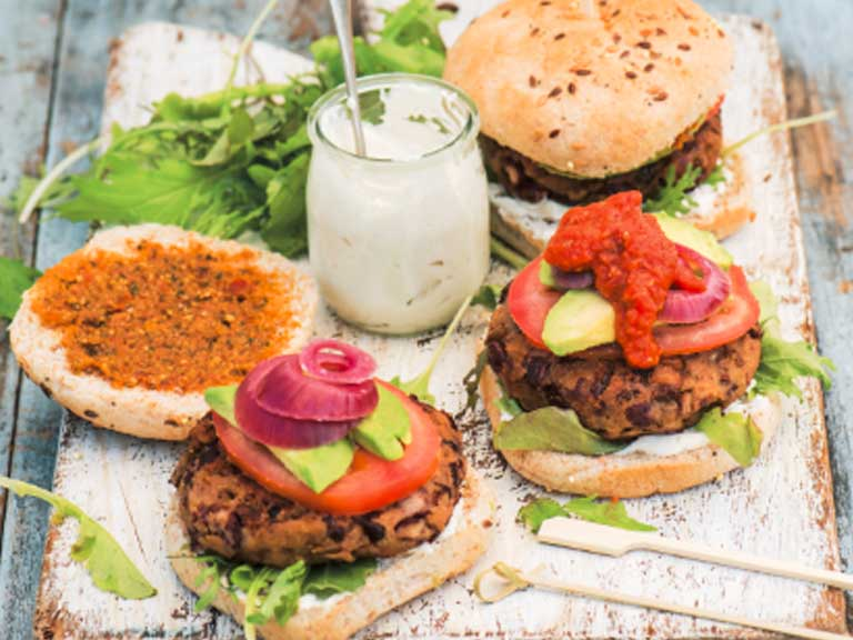 Quick and easy veggie burgers
