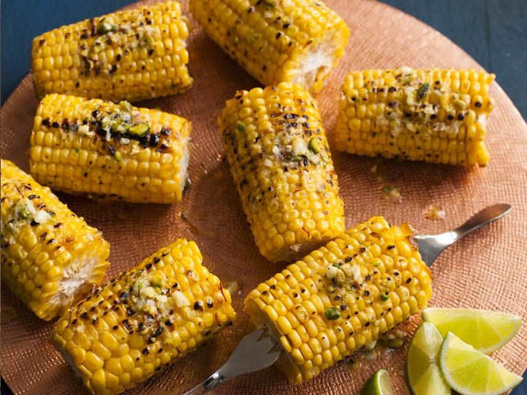 BBQ corn on the cob with pistachio-saffron butter