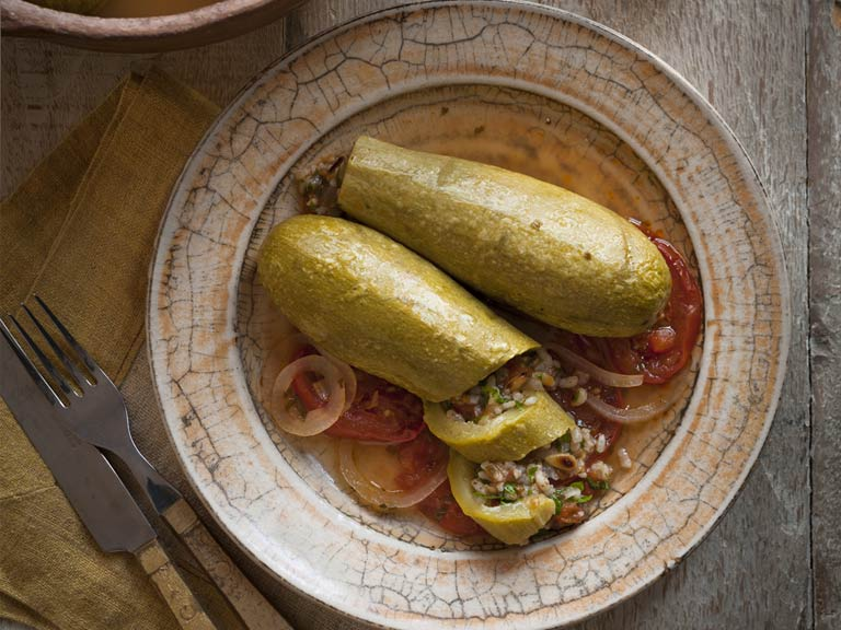 Courgettes stuffed with herbed rice