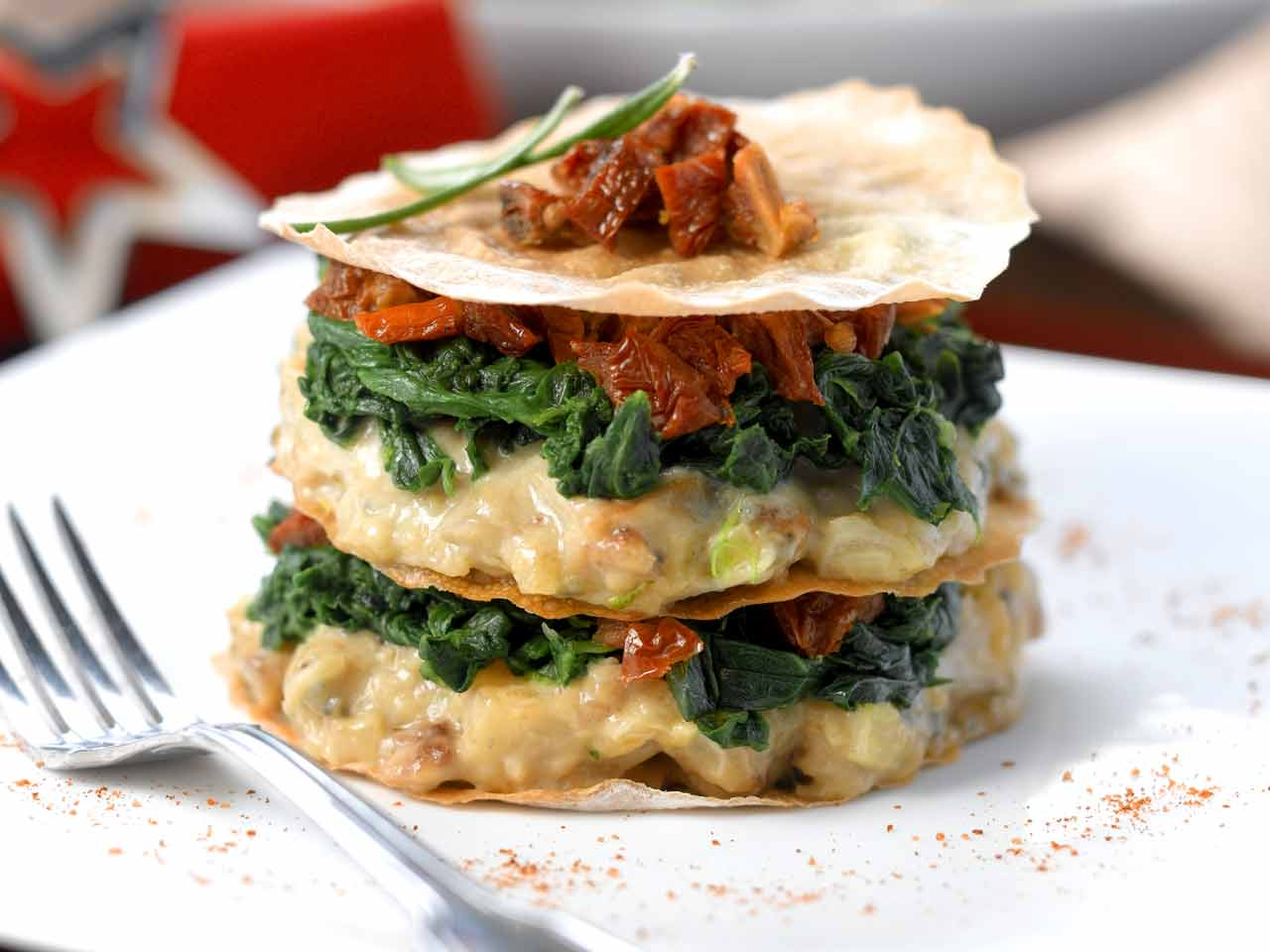 Roasted celeriac, blue cheese and apple stack