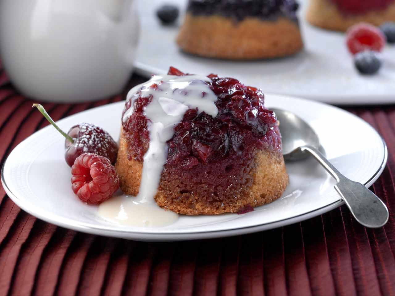 Jewelled sponge pudding with brandy sauce