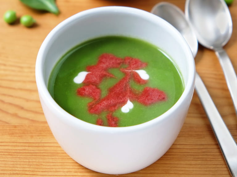 Pea and spinach soup with a beetroot swirl