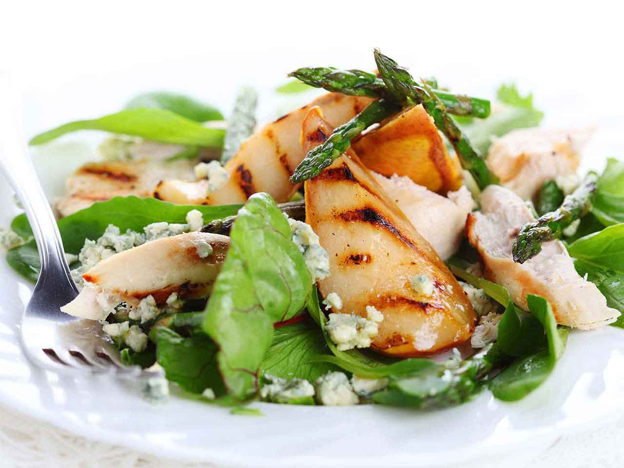 Asparagus chicken and feta salad