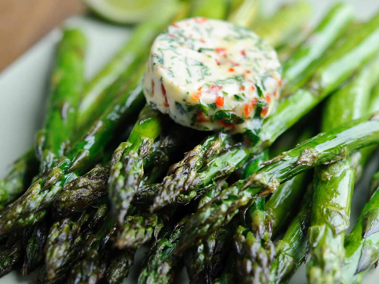 Roasted British asparagus with chilli and lime butter