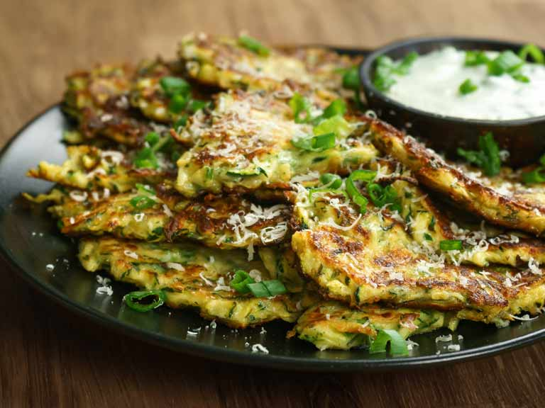 Courgette and pea fritters
