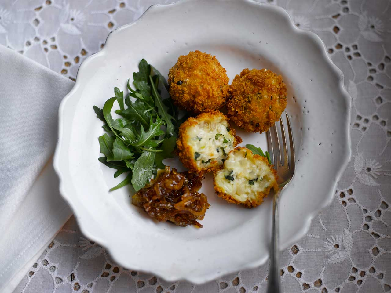 Crispy shallot and basil fritters