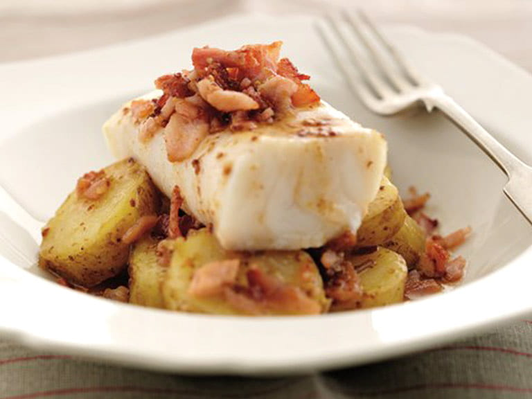 Roast cod and bacon-crushed Jersey Royals
