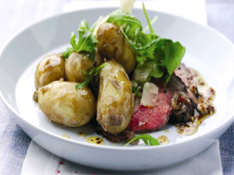 Jersey Royals and sirloin of beef