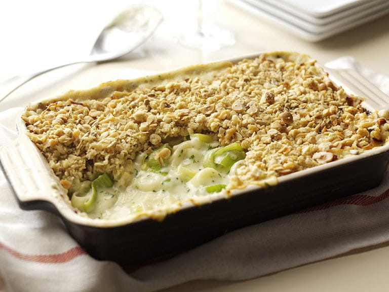 Leek and Cheddar cheese crumble