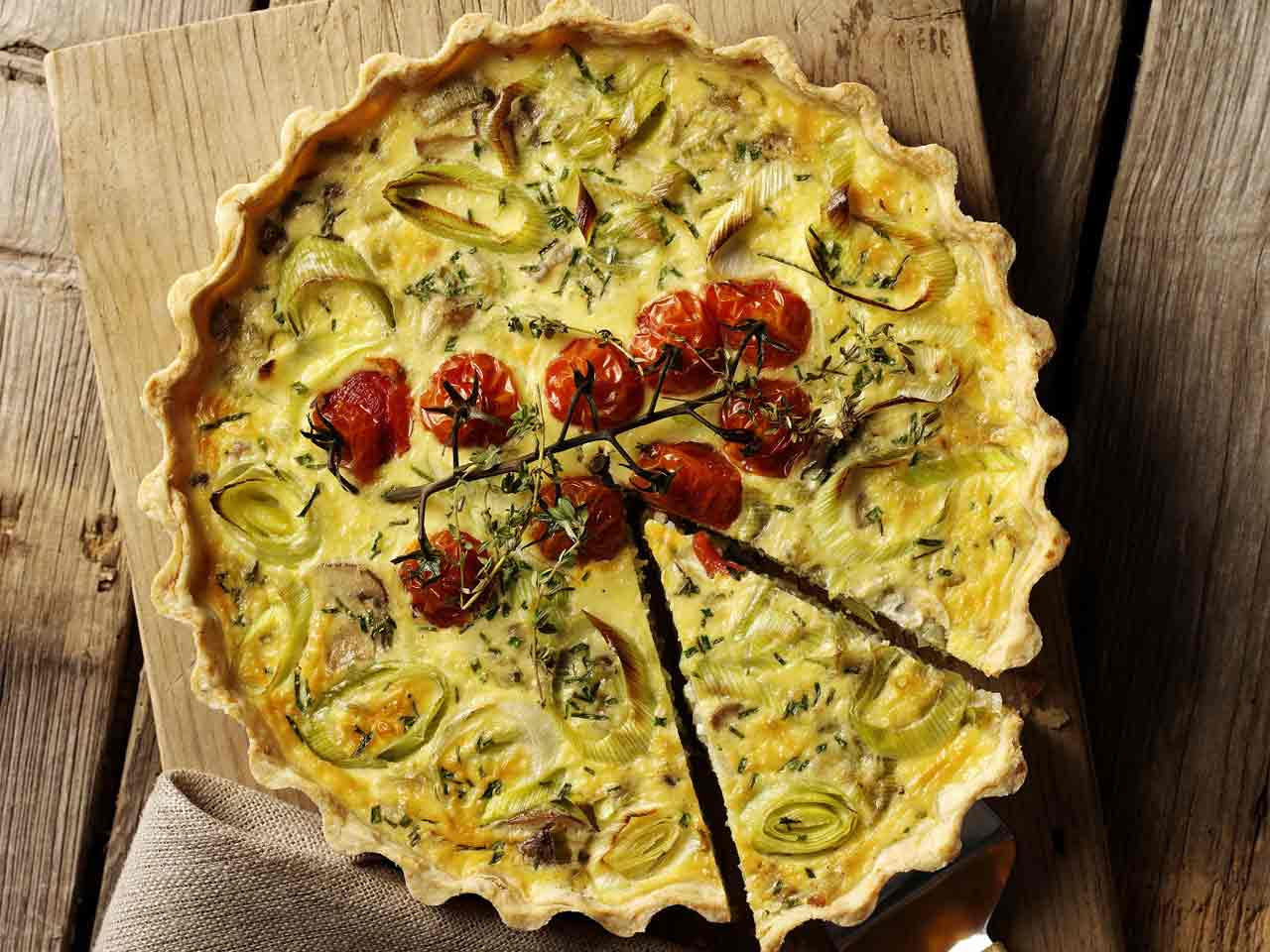 Mushroom and vegetable quiche