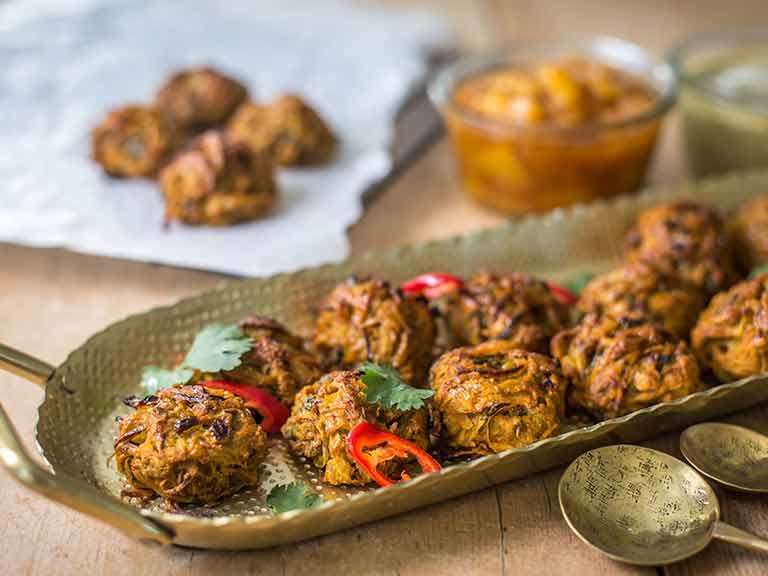 Potato and onion bhajis