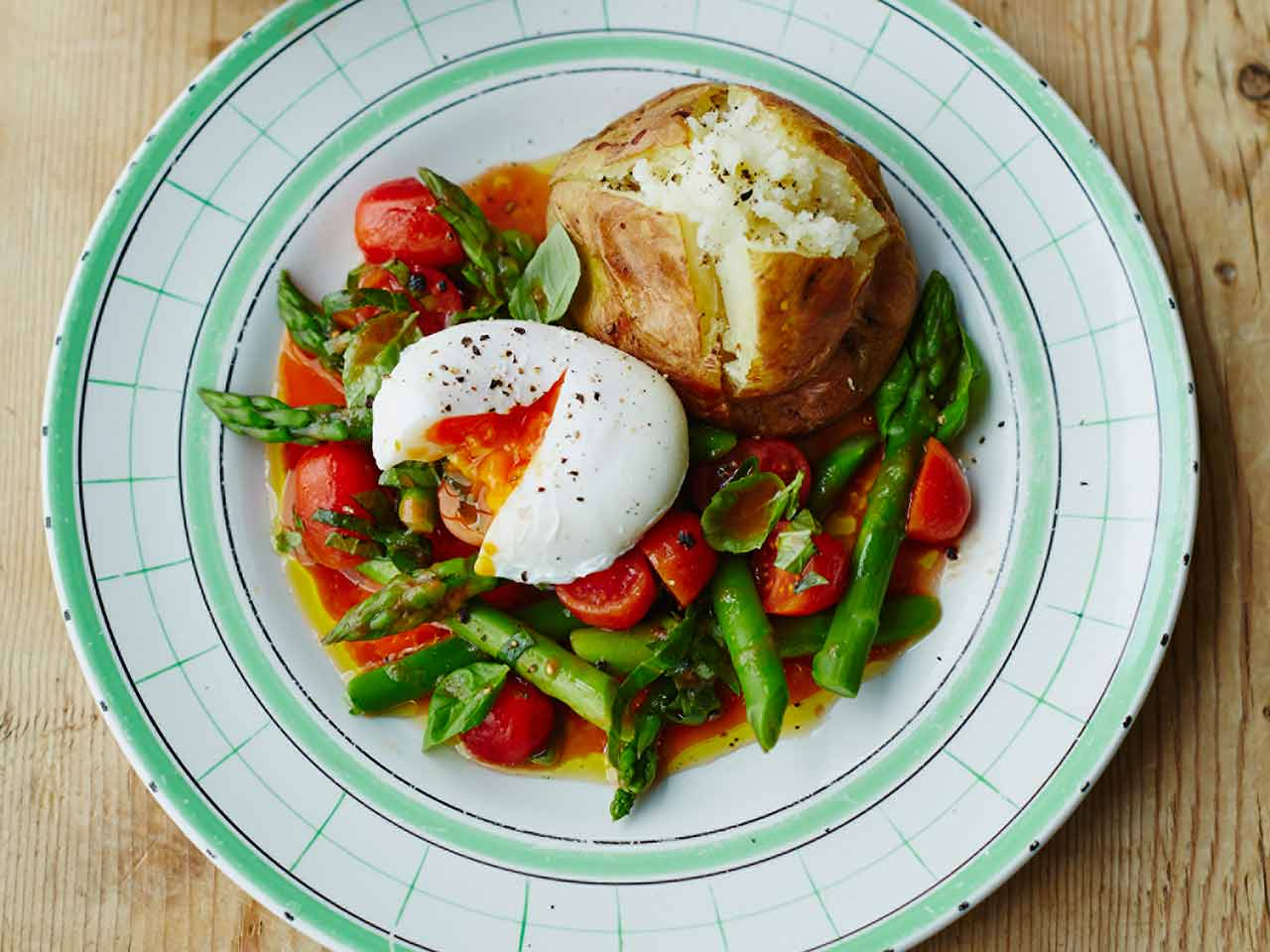 Alex Mackay's baked King Edwards with asparagus, poached egg and tomato dressing with basil
