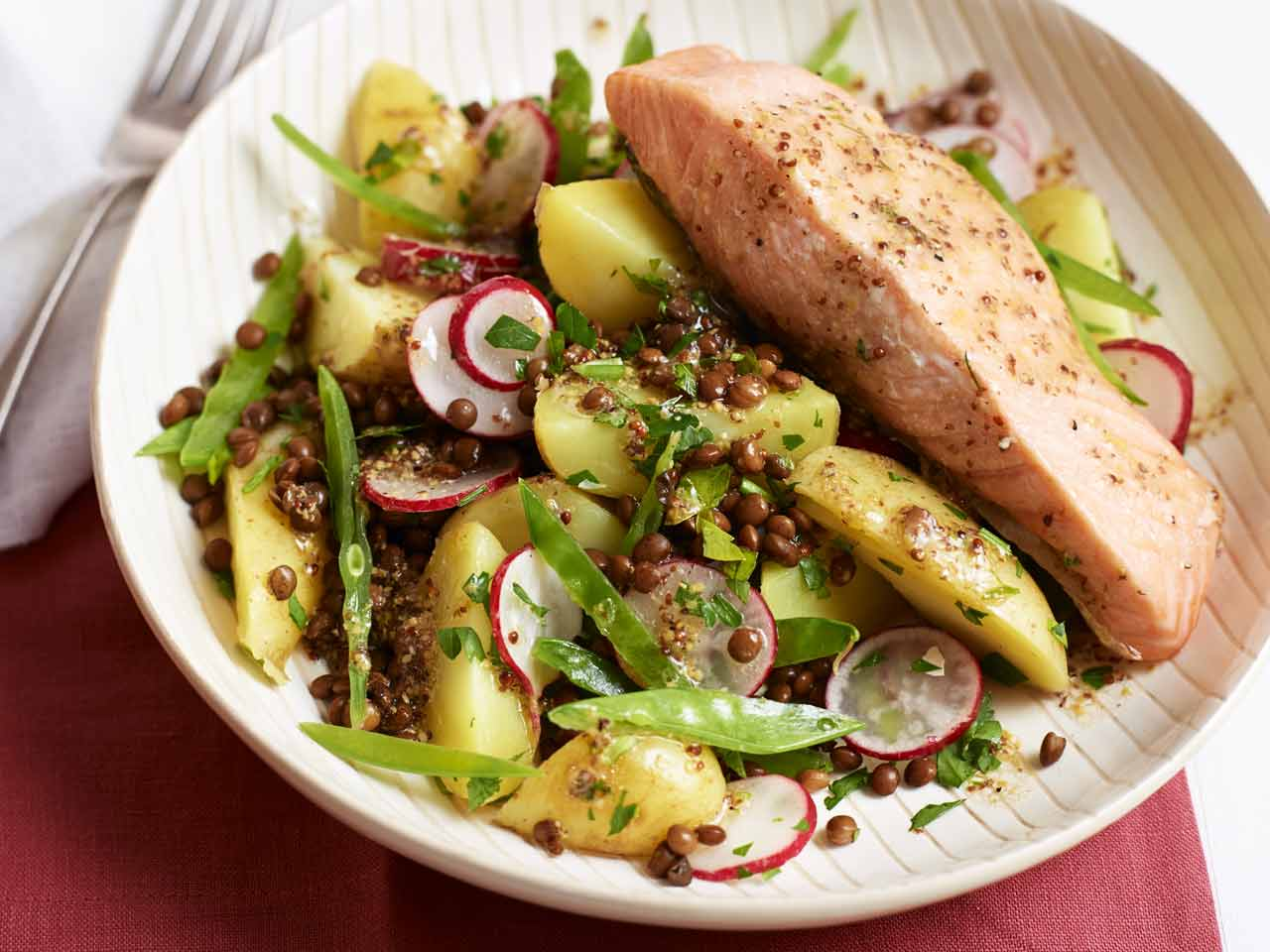 Potato and lentil salad with radish, mange tout with grilled salmon