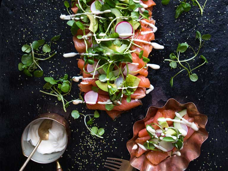 Smoked salmon sharing platter