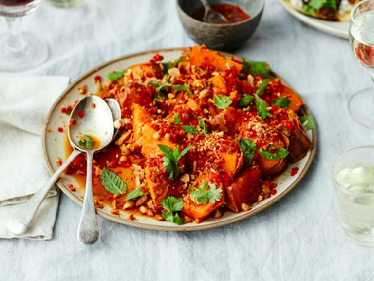 Baked sweet potato salad with chilli, coriander and tamari