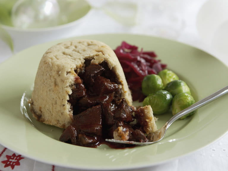 Mushroom and chestnut puddings with a red wine sauce