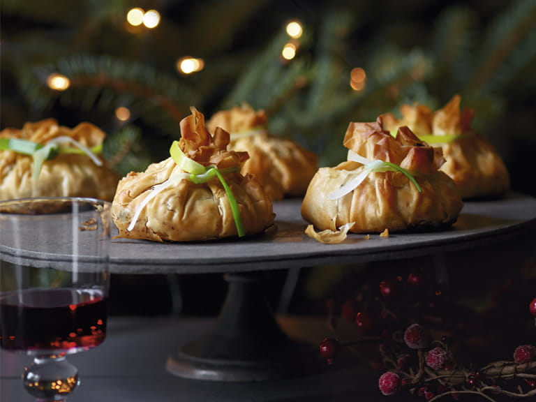 Mushroom, shallot and chestnut parcels