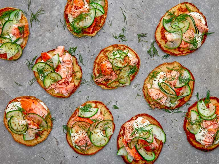 Herb fritters with smoked salmon