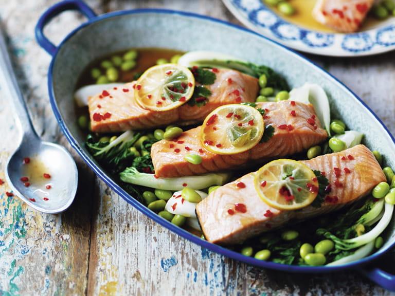 Steam-baked teriyaki-style salmon