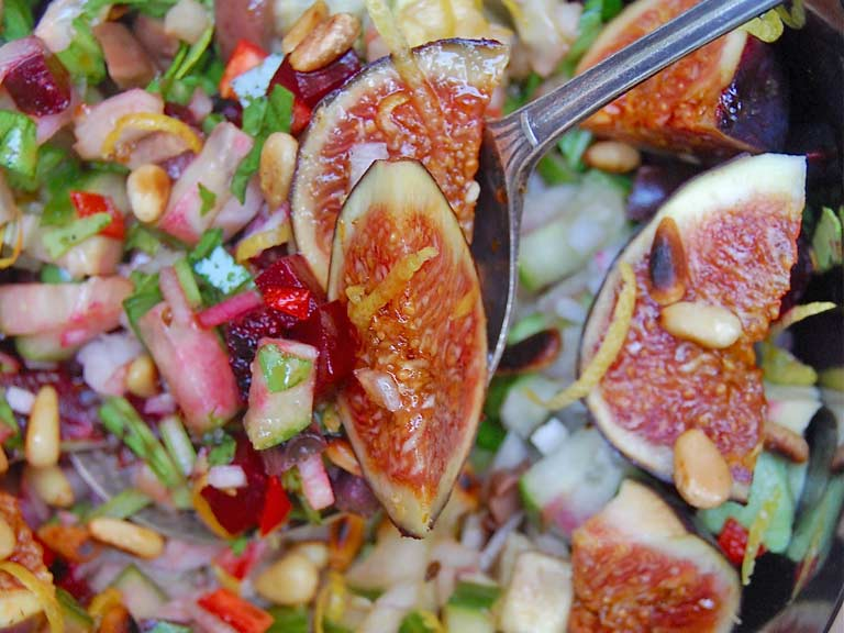 Fig salad with Ouzo, orange and lime dressing