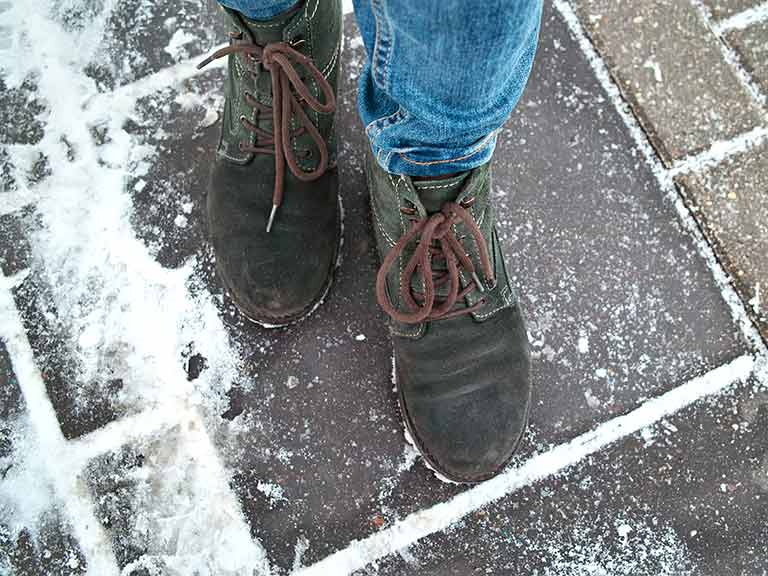 Falls are more common on icy pavements, so make sure you wear sensible shoes