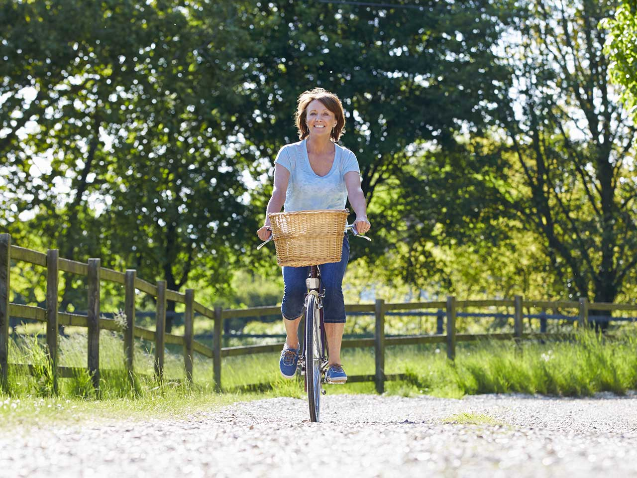 Mature woman riding a bike