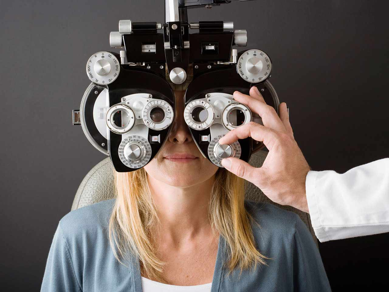 Woman having an eye check