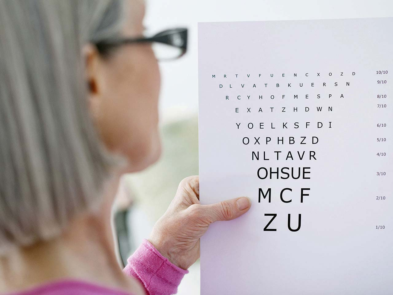 Mature lady looking at an eye exam chart