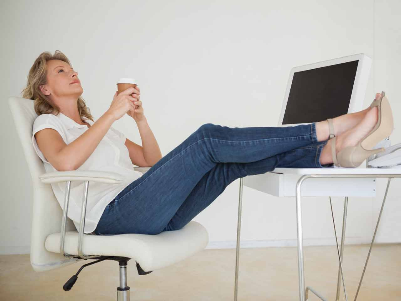 Woman putting her feet up
