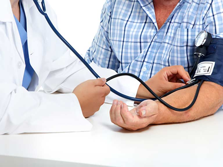 GP monitoring blood pressure