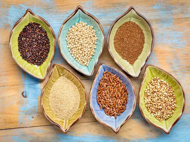 Ancient grains, including black quinoa, sorghum, teff, amaranth and buckwheat.
