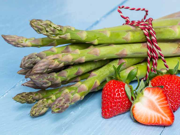 Asparagus and strawberries are bursting with flavour and goodness