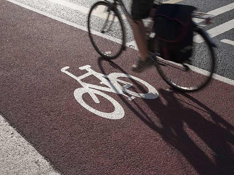 Cyclist on cycle lane