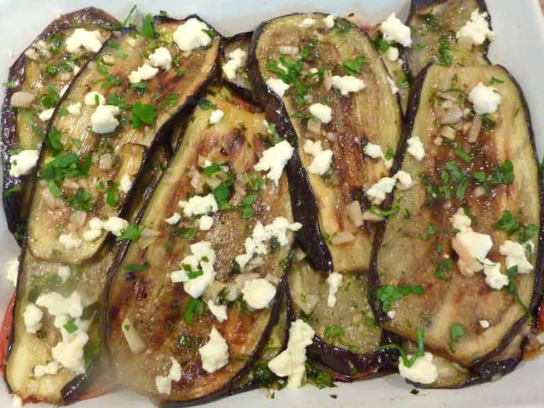 Judith Wills' Greek meze recipe for aubergine with feta