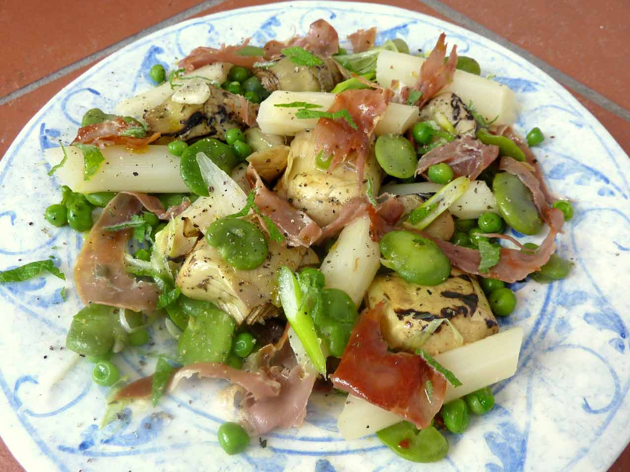 Judtih's artichoke and broad bean salad with prosciutto