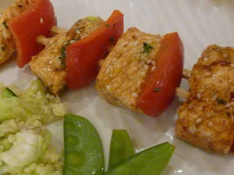 Judith's tangy salmon skewers